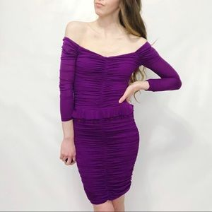 Betsey Johnson Purple Gauzy Ruched Bodycon Dress